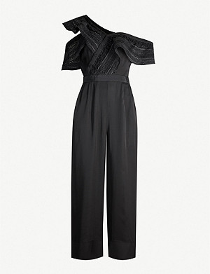 SELF-PORTRAIT Off-the-shoulder lace-embroidered crepe jumpsuit