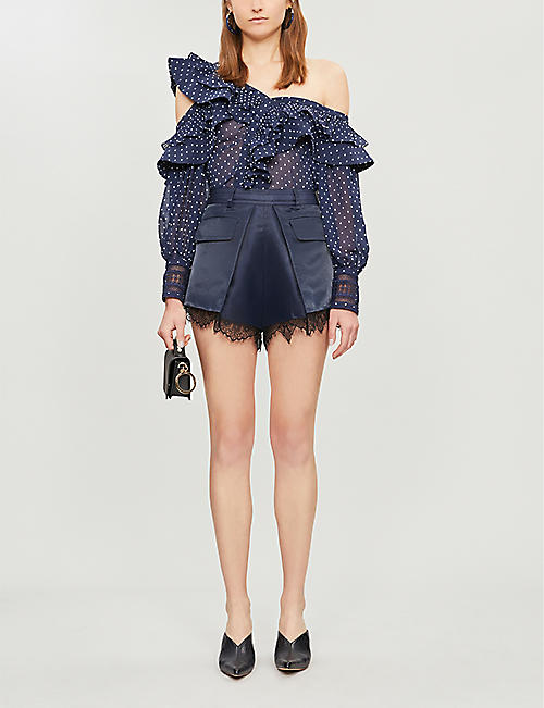 SELF-PORTRAIT Cold-shoulder lace-trimmed ruffled polka dot crepe top