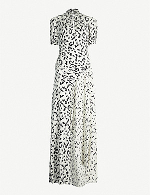 SELF-PORTRAIT Leopard-print stretch-satin dress