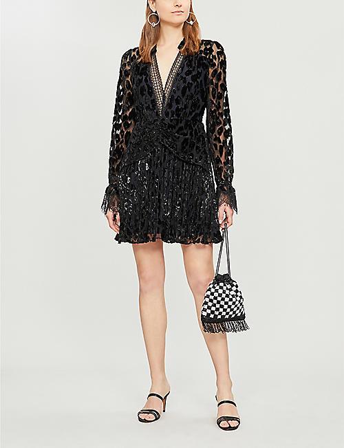 0664a894a3b SELF-PORTRAIT Lace-trimmed metallic leopard-print crepe mini dress
