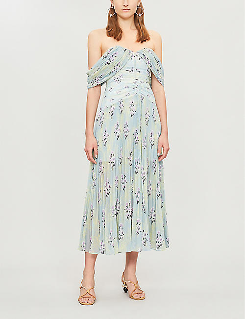 bb39452430d5 SELF-PORTRAIT Off-the-shoulder floral-print pleated chiffon midi dress