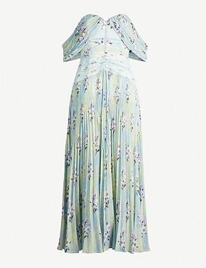 SELF-PORTRAIT Off-the-shoulder floral-print pleated chiffon midi dress