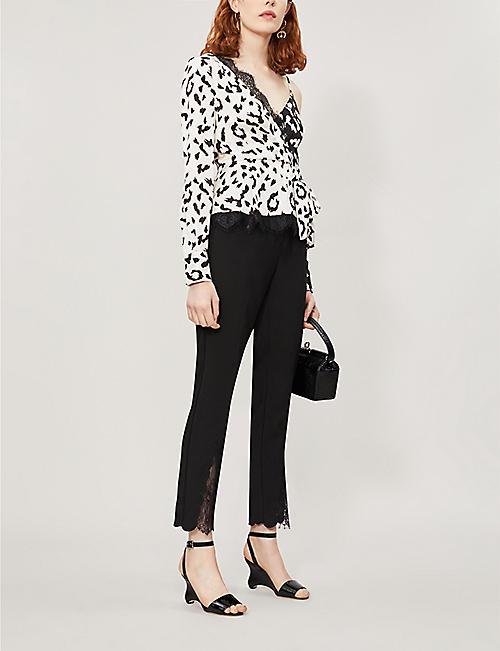 0316f2fade01 SELF-PORTRAIT Lace-trimmed one-shoulder leopard-print satin top