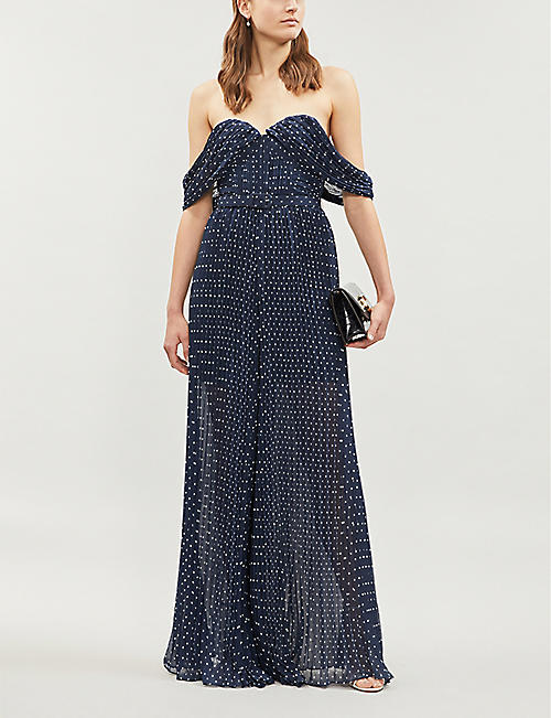 SELF-PORTRAIT Polka dot-print sleeveless crepe jumpsuit