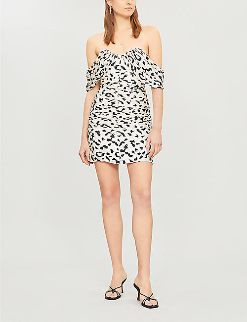 SELF-PORTRAIT Off-the-shoulder leopard-print pleated crepe mini dress