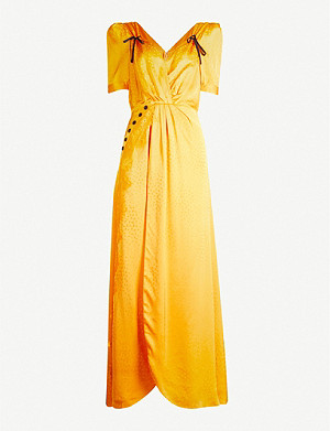 SELF-PORTRAIT Gathered satin-jacquard maxi dress