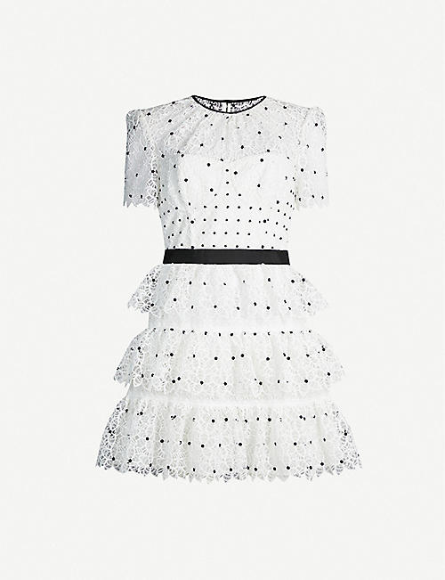 SELF-PORTRAIT Tiered polka dot floral lace mini dress
