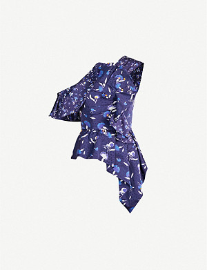 SELF-PORTRAIT One-shoulder ruffled floral-print satin top