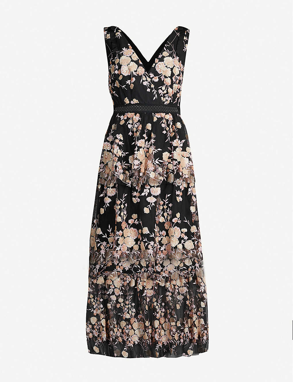 dc91a46c8db SELF-PORTRAIT - Tiered sequinned floral mesh midi dress | Selfridges.com