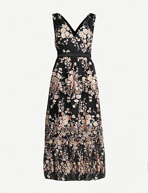 bcbb7ef3c88 SELF-PORTRAIT Tiered sequinned floral mesh midi dress