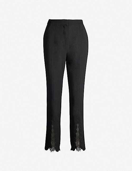 bc6bd2307b2372 SELF-PORTRAIT Lace-panelled cropped high-rise crepe straight-leg trousers