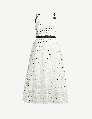 SELF-PORTRAIT Belted polka dot floral lace midi dress
