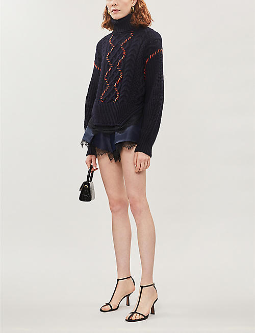 SELF-PORTRAIT Lace-trimmed whipstitched cotton and wool-blend jumper