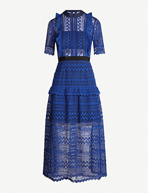 SELF-PORTRAIT Short-sleeved geometric-lace midi dress