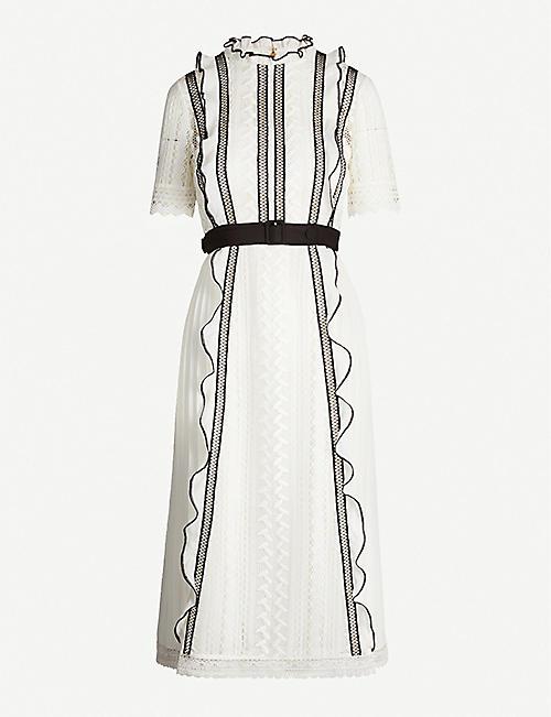 21ca32aa3 SELF-PORTRAIT Contrast-trim guipure lace and crepe dress