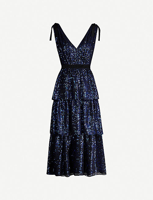 SELF-PORTRAIT Check sequinned midi dress