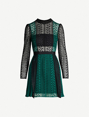 SELF-PORTRAIT Geometric lace and crepe dress