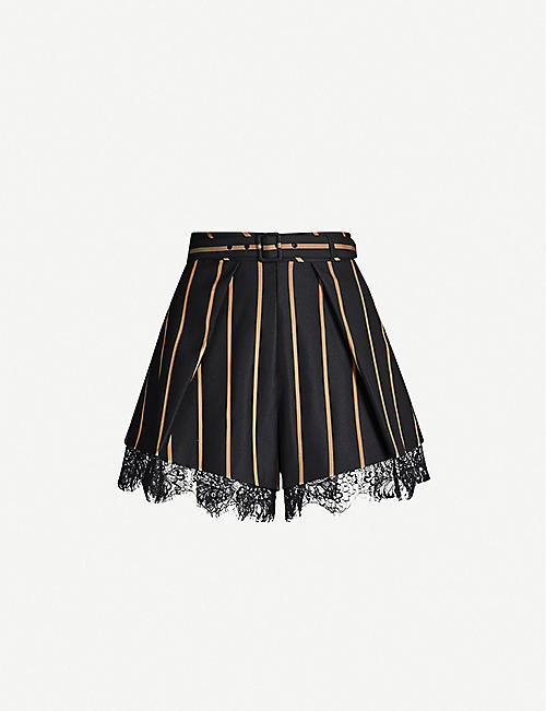 SELF-PORTRAIT Striped twill shorts