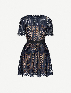 SELF-PORTRAIT Tiered floral-lace mini dress