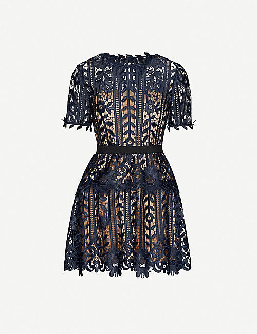 SELF-PORTRAIT: Tiered floral-lace mini dress