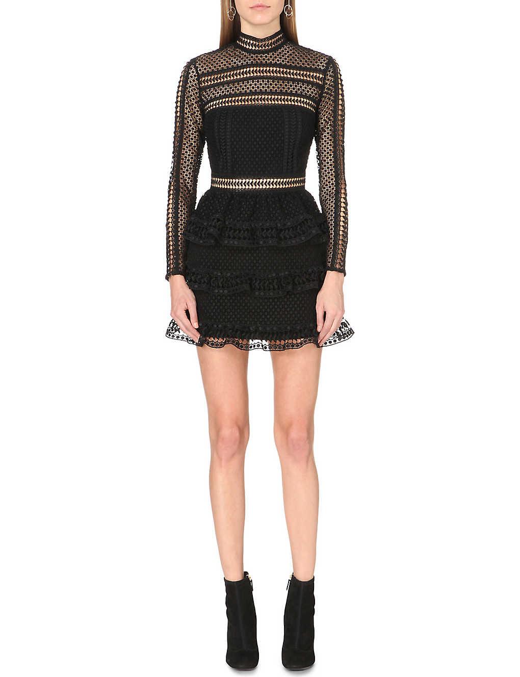 221414bd100e SELF-PORTRAIT - High-neck lace dress   Selfridges.com