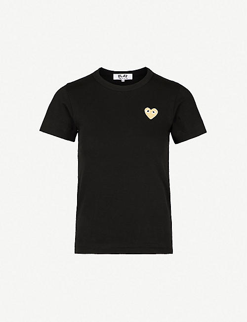 COMME DES GARCONS PLAY Embroidered-heart cotton-jersey t-shirt
