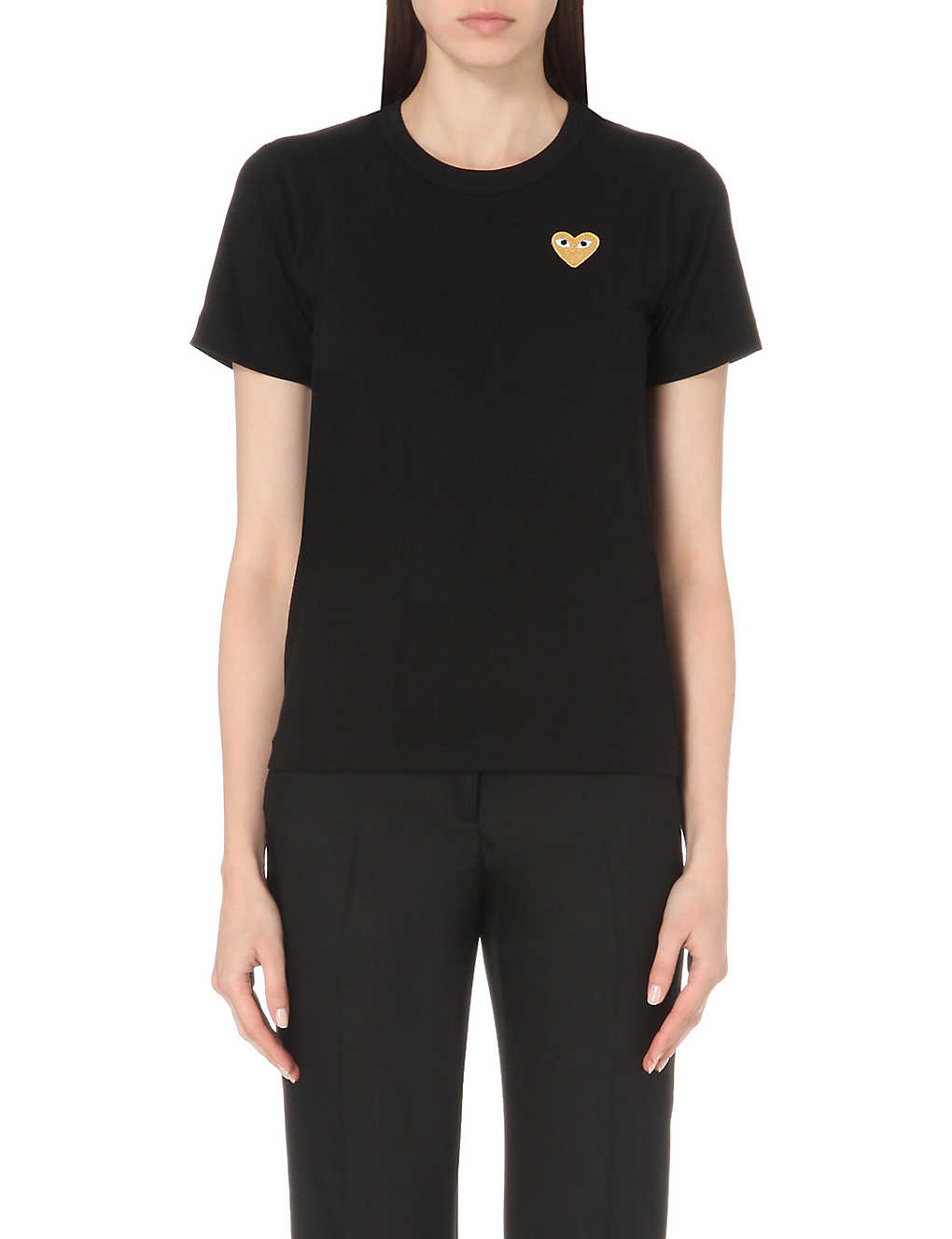 COMME DES GARCONS PLAY: Embroidered-heart cotton-jersey t-shirt
