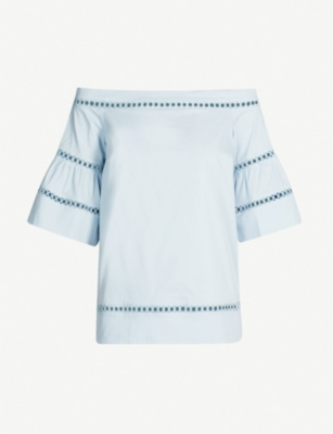 MICHAEL MICHAEL KORS Off-the-shoulder flared-sleeve cotton-blend top
