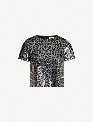 MICHAEL MICHAEL KORS Leopard-print sequin crop top