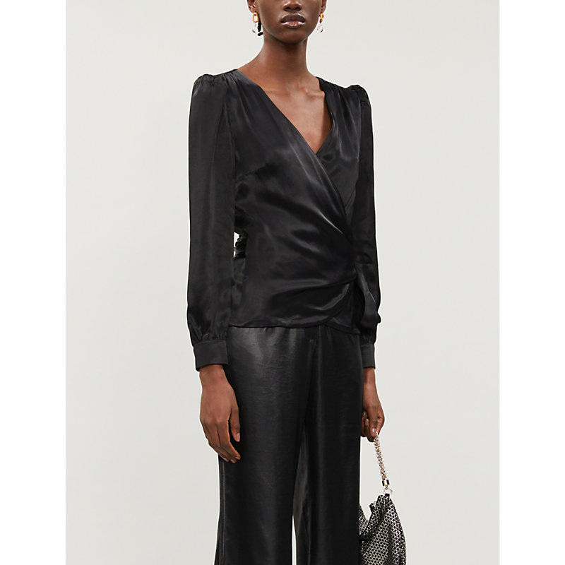 Michael Michael Kors Wraped Blouse With Side Bow In Black