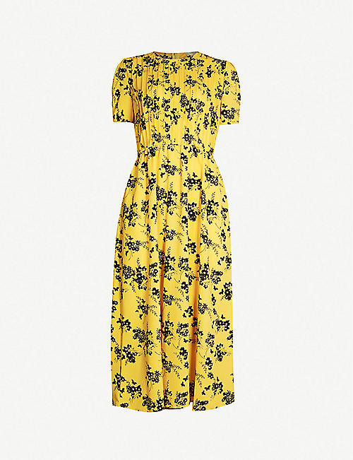 aa9104a5c4824 MICHAEL MICHAEL KORS Floral print short sleeved pleated front crepe dress