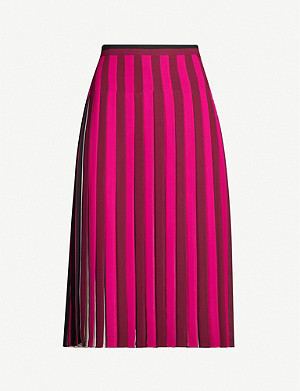 MICHAEL MICHAEL KORS Pleated multi-stripe crepe midi skirt