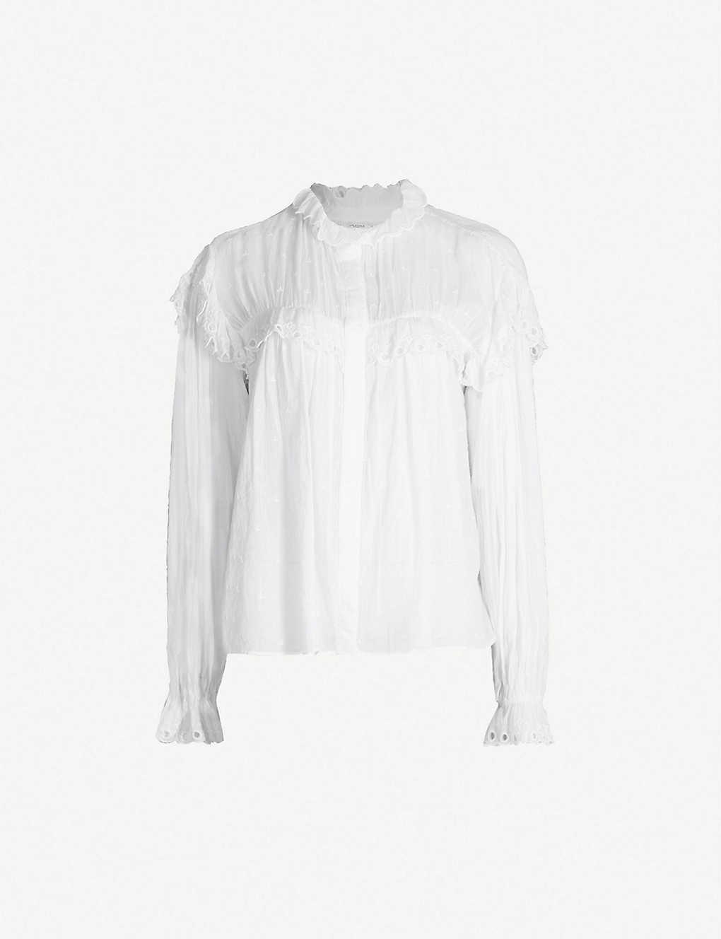 d6d971ea0069e7 ISABEL MARANT ETOILE - Elmira ruffled macramé-lace trim cotton blouse |  Selfridges.com