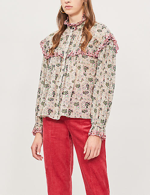 b278b4c5e73 ISABEL MARANT ETOILE - Elmira ruffled lace-trimmed floral-print cotton  blouse