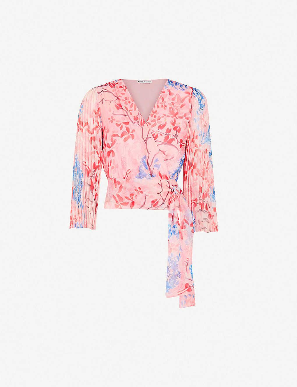 03a250e46dc54 ALICE   OLIVIA - Bray pleated sleeve silk-chiffon wrap top ...