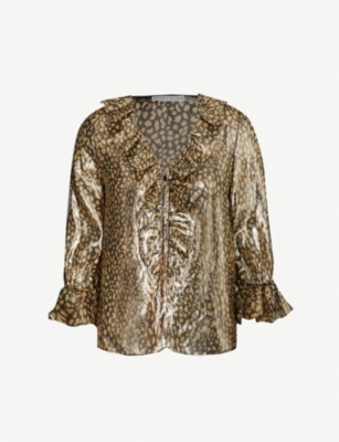 ALICE & OLIVIA Elliot metallic animal-print silk-blend top