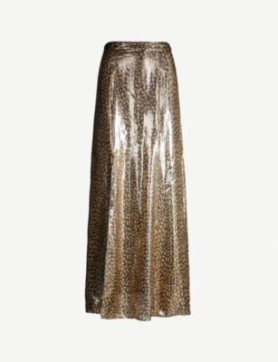 ALICE & OLIVIA Athena metallic animal-print silk-blend maxi skirt