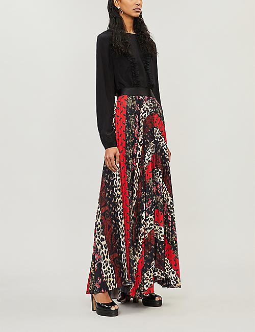 ALICE & OLIVIA Patchwork-print flared pleated skirt