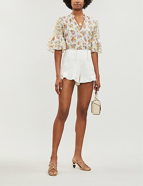 ALICE & OLIVIA London ruffled linen-blend shorts