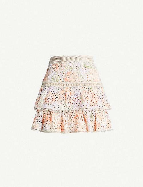 62347b7a91c ALICE   OLIVIA Kirsten embroidered eyelet modal skirt