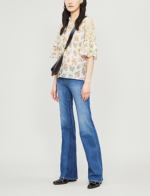 8b272d61 ALICE & OLIVIA Julius flared-cuff floral-print cotton and silk-blend blouse