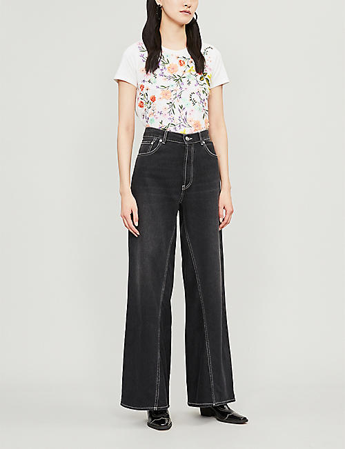 03ff4c84 ALICE & OLIVIA Rylyn embellished floral-embroidered cotton T-shirt