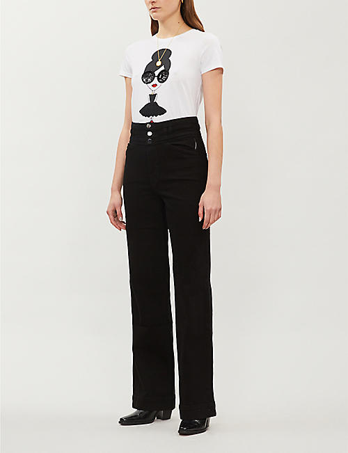ALICE & OLIVIA Rylyn embellished cotton-jersey T-shirt