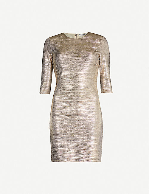 ALICE & OLIVIA Delora stretch-jersey metallic mini dress
