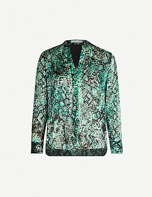 ALICE & OLIVIA Amos animal-print crepe blouse