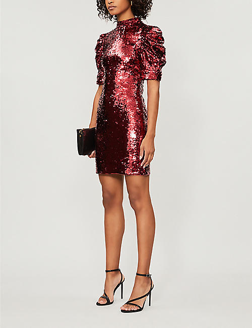 ALICE & OLIVIA Brenna puffed-sleeve sequinned mini dress