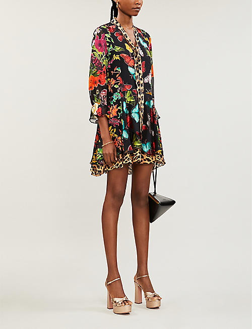 ALICE & OLIVIA Moore floral-print mini satin dress
