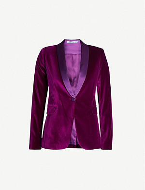 ALICE & OLIVIA Macey single-breasted stretch-velvet blazer