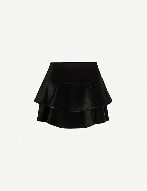 ALICE & OLIVIA Paloma ruffled velvet mini skirt