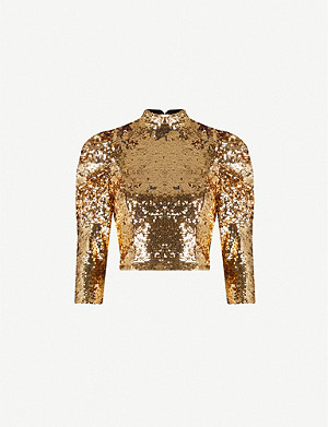 ALICE & OLIVIA Brenna puffed-sleeve stretch sequinned top